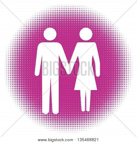 Man and Woman icon art. Halftone dots background