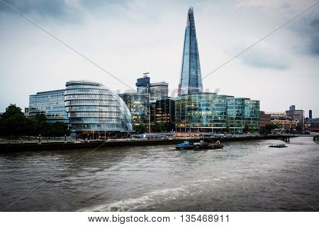 Panoramic view over London from the Tower Bridge to the City Hall  and the Shard across the Thames