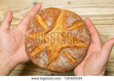 Round Loaf Of Homemade Bread