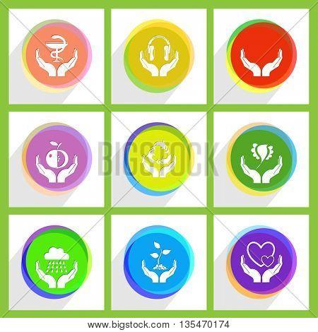 human hands, bird in hands, love, headphones, protection sea life, plant, pharma symbol, apple, weather. In hands set. Internet template. Vector icons.