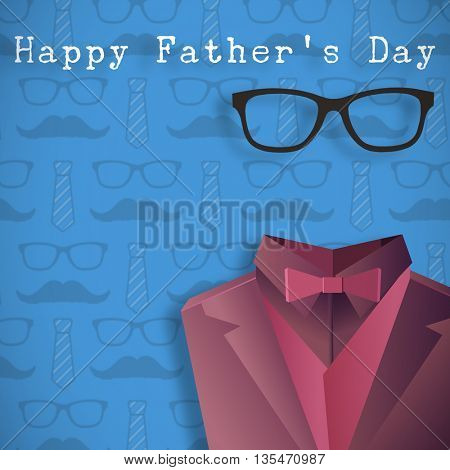 Word happy fathers day against digitally generated icon of a buste