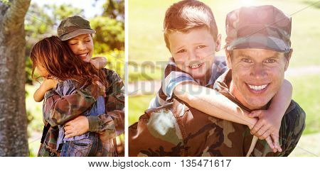 Happy soldier giving piggyback to his son against happy soldier reunited with her daughter