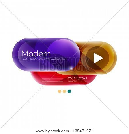 Round business infographics template buttons. Vector glossy glass style layout with options text and slogan