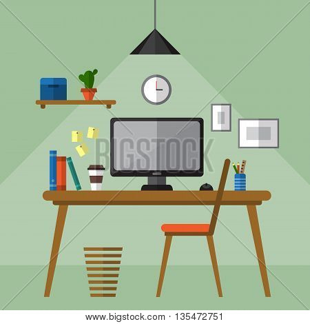 Illustration of modern workplace with desktop and office utensils. Creative office workspace. Table and chair.  Flat style vector illustration