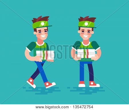 Young handsome pizza delivery guy in uniform holds boxes and friendly smiling. Modern character design - pizza courier in different poses. Vector set in flat design.