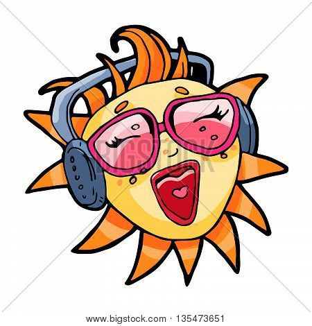 Sun in sunglasses singing karaoke song. Hand drawn vector summer beach illustration isolated over white.