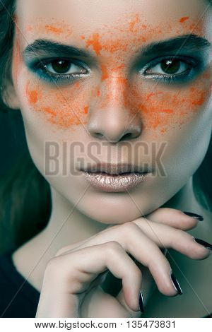 Portrait Of The Beautiful Caucasian Girl With Creative Art Makeup With Bright Colors