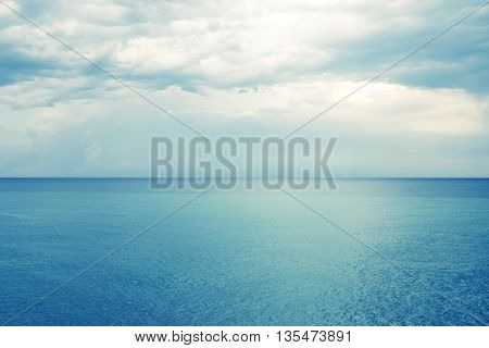 Blue sea and cloudy sky. Province of Castellon in Valencianan Community Spain.