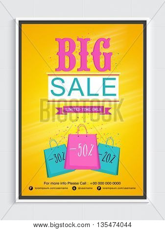 Stylish Big Sale Flyer. Different Discount Offers for Limited Time Only, Creative Vector Illustration.