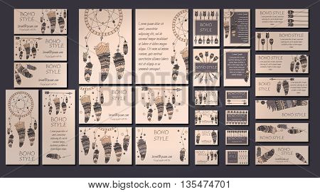 Vector Set Of Abstract Ethnic Flyers With Arrows, Dreamcatcher, Feather Frames. Boho Design Brochure