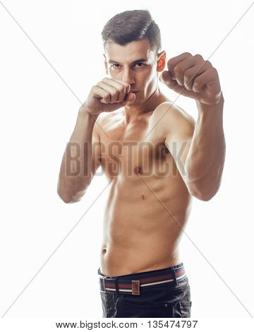 young handsome naked torso man boxing on white background isolated, lifestyle sport real people concept