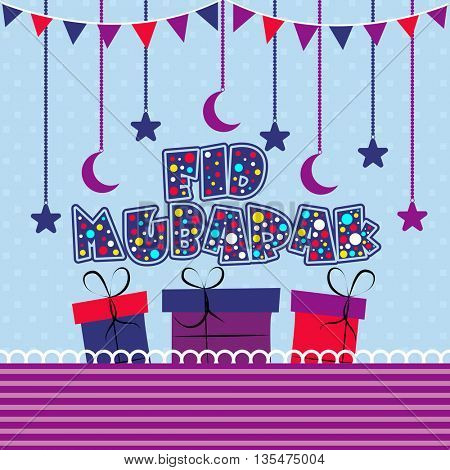 Creative Text Eid Mubarak with colourful gifts on moons and stars decorated background, Greeting Card design for Islamic Holy Festival, Eid Mubarak celebration.