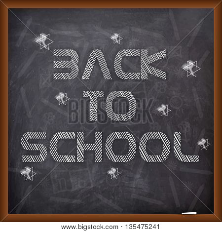 Stylish text Back to School on chalkboard background, Can be used as Poster, Banner or Flyer design.