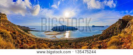Amazing panorama of Balos Lagoon and Gramvousa island on Crete, Greece