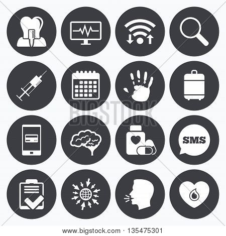 Wifi, calendar and mobile payments. Medicine, medical health and diagnosis icons. Blood, syringe injection and neurology signs. Tooth implant, magnifier symbols. Sms speech bubble, go to web symbols.