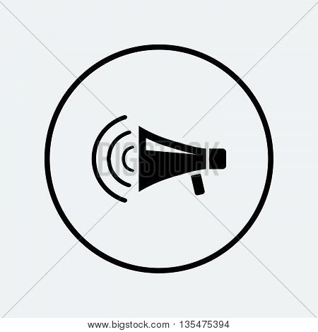Megaphone sign icon. Loudspeaker strike symbol. Flat loudspeaker icon. Simple design loudspeaker symbol. Loudspeaker graphic element. Round button with flat loudspeaker icon. Vector