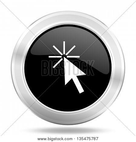 click here black icon, metallic design internet button, web and mobile app illustration