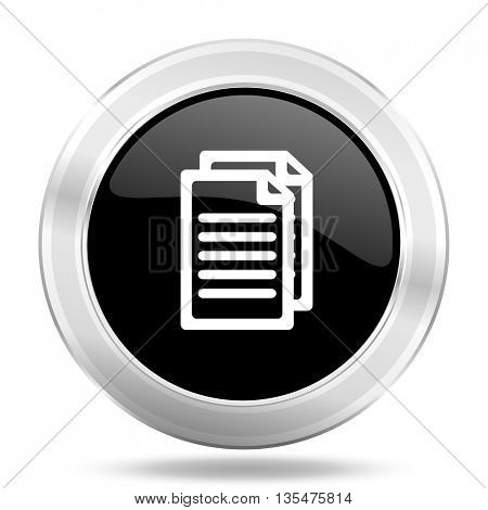 document black icon, metallic design internet button, web and mobile app illustration