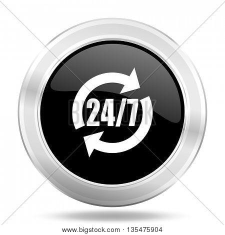 service black icon, metallic design internet button, web and mobile app illustration