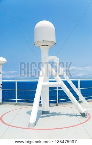 Sattelite communication antenna and radar mast of the ship.