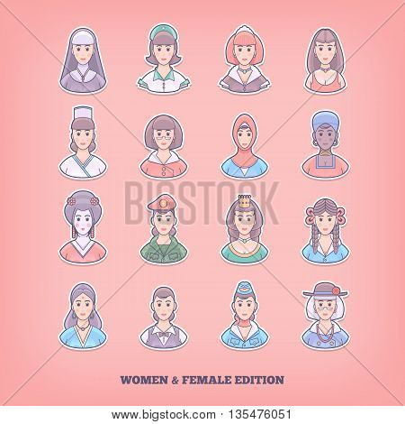 Cartoon people icons. Woman, girl, female design elements. Flat concept vector illustration.