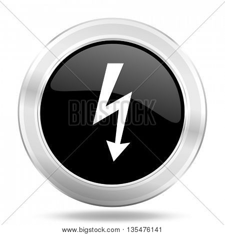 bolt black icon, metallic design internet button, web and mobile app illustration