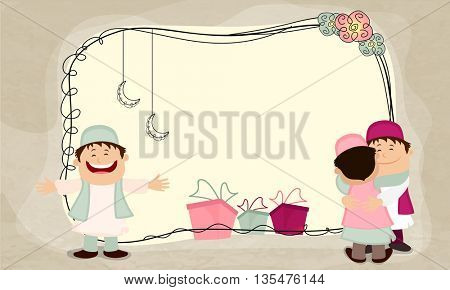 Happy Muslim Men hugging and wishing to each other on Eid Festival celebration, Beautiful background with colorful gift boxes, hanging moons and space for your text.