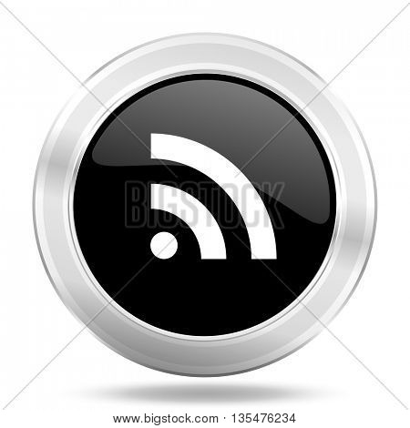 rss black icon, metallic design internet button, web and mobile app illustration