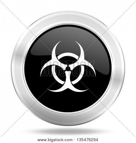 biohazard black icon, metallic design internet button, web and mobile app illustration