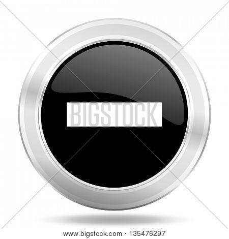 minus black icon, metallic design internet button, web and mobile app illustration