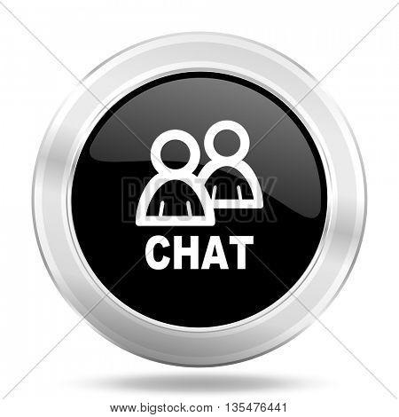 chat black icon, metallic design internet button, web and mobile app illustration
