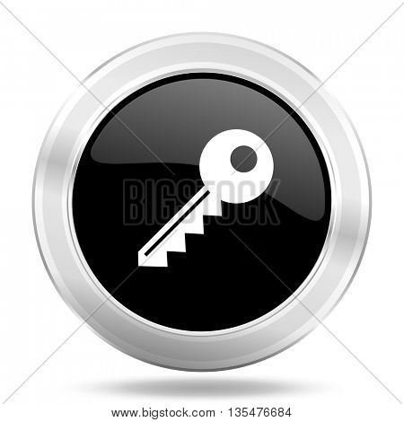 key black icon, metallic design internet button, web and mobile app illustration
