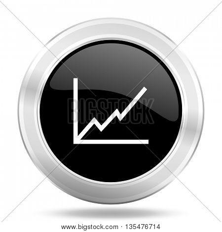 chart black icon, metallic design internet button, web and mobile app illustration