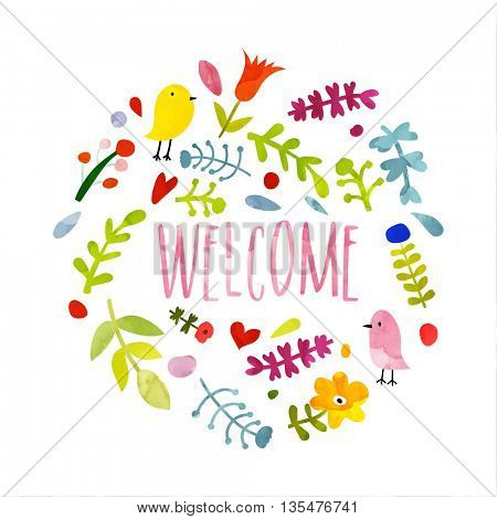 Colorful hand drawn welcome card, Doodle style illsutration with beautiful floral pattern and cute birds.