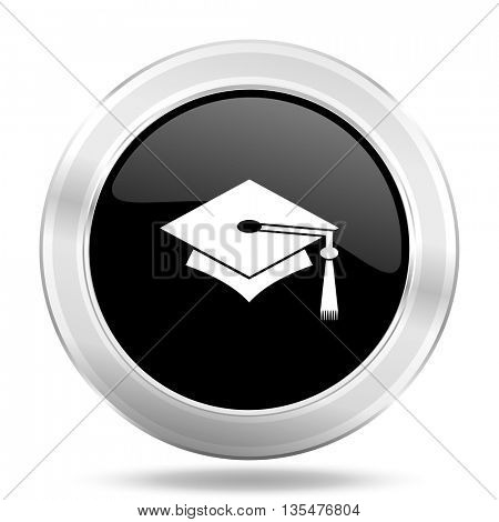 education black icon, metallic design internet button, web and mobile app illustration