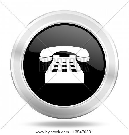 phone black icon, metallic design internet button, web and mobile app illustration