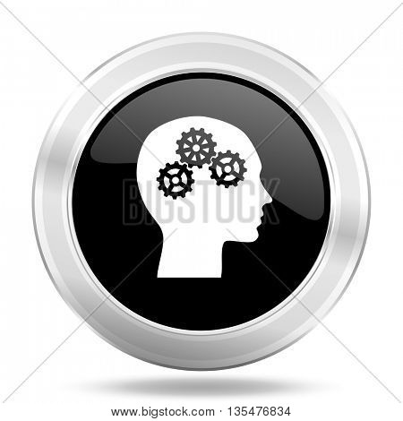 head black icon, metallic design internet button, web and mobile app illustration