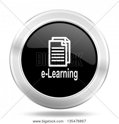 learning black icon, metallic design internet button, web and mobile app illustration