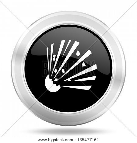bomb black icon, metallic design internet button, web and mobile app illustration