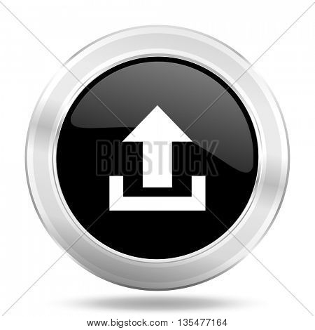 upload black icon, metallic design internet button, web and mobile app illustration