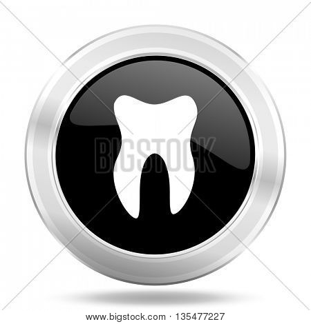 tooth black icon, metallic design internet button, web and mobile app illustration