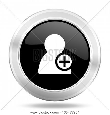 add contact black icon, metallic design internet button, web and mobile app illustration