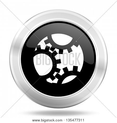 gear black icon, metallic design internet button, web and mobile app illustration