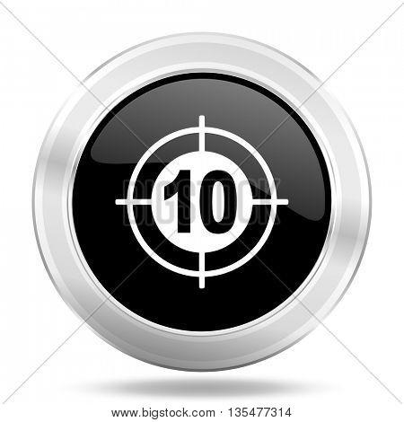 target black icon, metallic design internet button, web and mobile app illustration