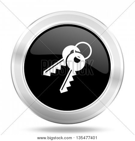 keys black icon, metallic design internet button, web and mobile app illustration