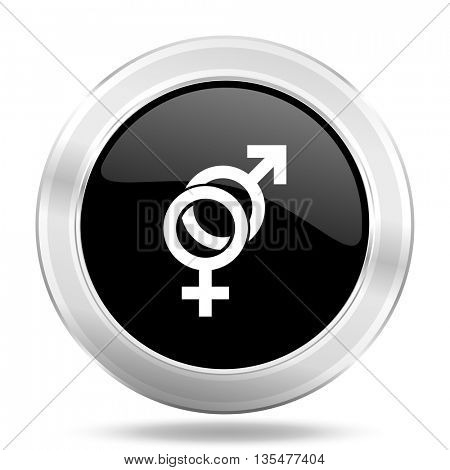 sex black icon, metallic design internet button, web and mobile app illustration