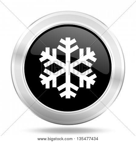 snow black icon, metallic design internet button, web and mobile app illustration