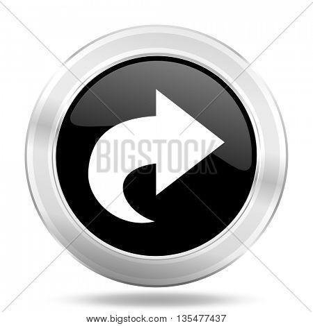 next black icon, metallic design internet button, web and mobile app illustration