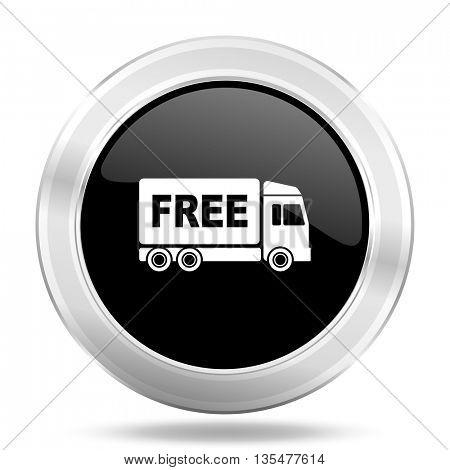 free delivery black icon, metallic design internet button, web and mobile app illustration