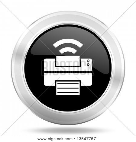 printer black icon, metallic design internet button, web and mobile app illustration
